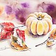 かぼちゃとブナの葉