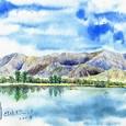 近江舞子内湖と比良山系