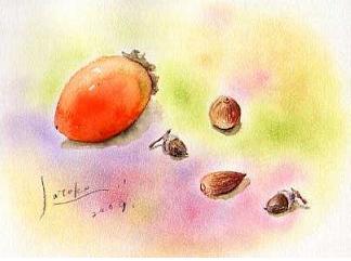 筆柿とドングリ