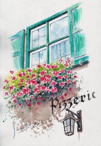 ピザ屋の窓辺
